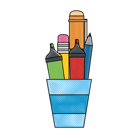 secretarial: cup with pencils and utensil icon over white background vector illustration