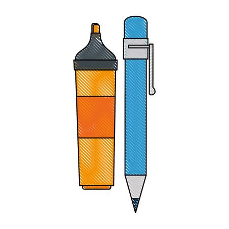 highlighter pen: highlighter pen icon over white background vector illustration