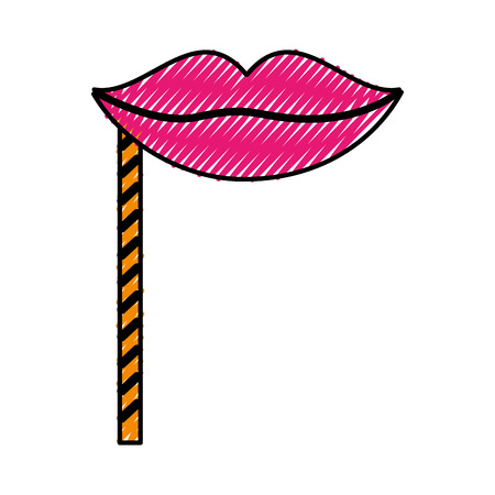 scribble cute party booth props lips vector graphic design