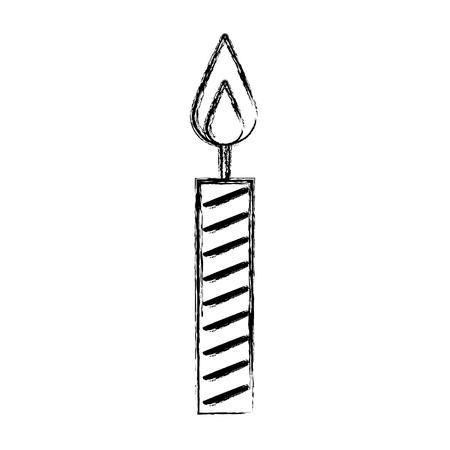 sketch draw birthday candle cartoon vector graphic design