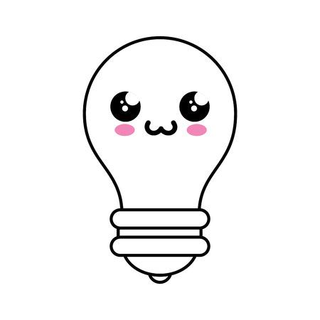 Bulb kawaii cartoon icon vector illustration graphic design