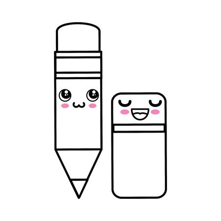 Pencil kawaii cartoon icon vector illustration graphic design