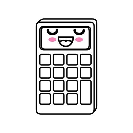 Calculator kawaii cartoon icoon vector illustratie grafisch ontwerp Stock Illustratie