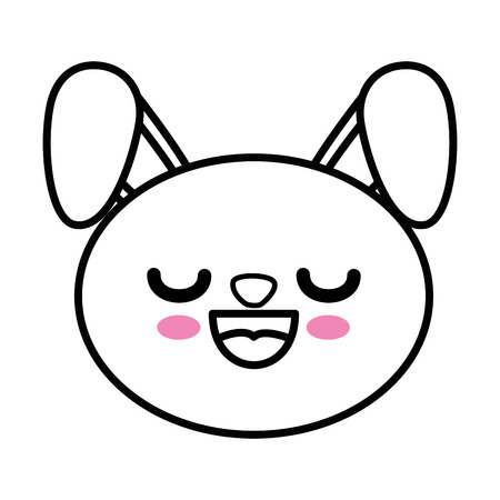 eyes are closed: Bunny kawaii cartoon icon vector illustration graphic design Illustration