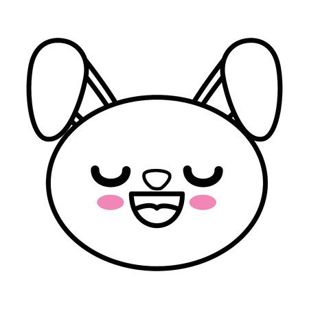 boca cerrada: Bunny kawaii icono de dibujos animados ilustración vectorial diseño gráfico Vectores