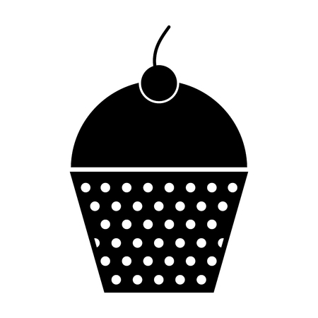 cupcakes isolated: black icon cupcake cartoon vector graphic design Illustration