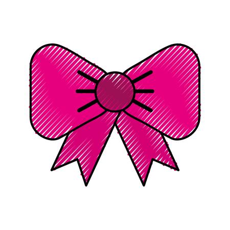 Scribble cute fuchsia bow cartoon vector graphic design Иллюстрация