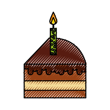 scribble cute cake slice cartoon vector graphic design Illustration