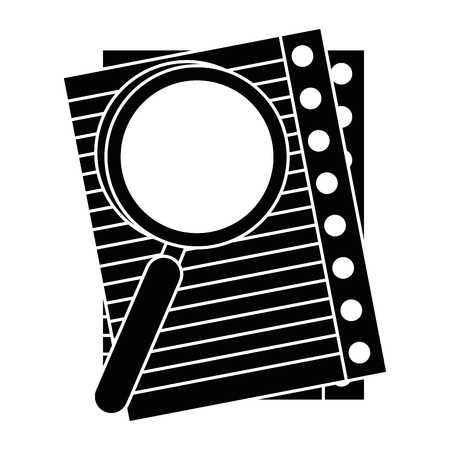 paper sheets and magnifying glass icon over white background vector illustration Illustration