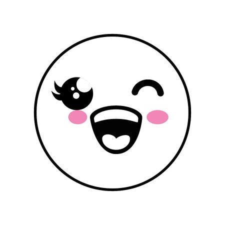 Cute kawaii emoticon icon vector illustration graphic design Illustration