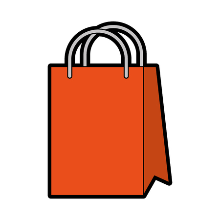 cute orange shopping bag cartoon vector graphic design