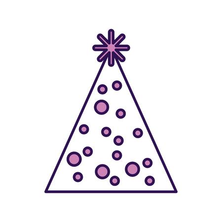 streamers: cute purple party hat cartoon vector graphic design Illustration