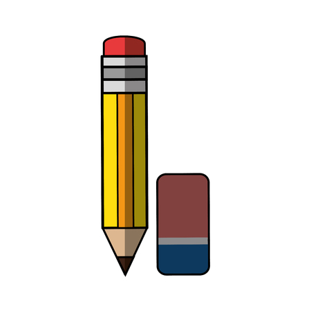 Pencil with eraser icon vector illustration graphic design