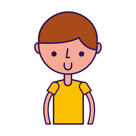 cute upper body brown hair boy cartoon vector graphic design