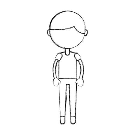 Cute sketch draw boy cartoon vector graphic design
