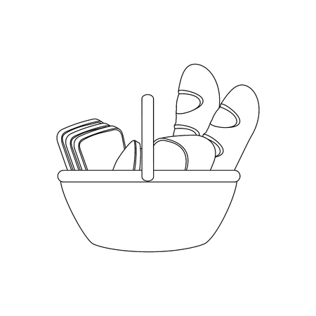 Korb mit Bäckereiproduktikone über weißem Hintergrund. Vektor-Illustration Standard-Bild - 79413511
