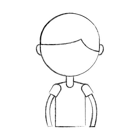 Cute Sketch Draw Upper Body Boy Cartoon Vector Graphic Design