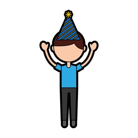 Cute brown hair party boy cartoon vector graphic design
