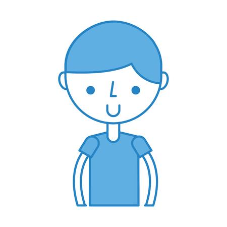 Cute blue upper body boy cartoon vector graphic design