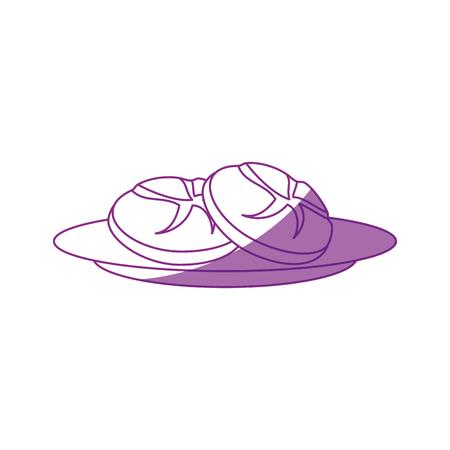 白い背景の上パン アイコンのロール。ベクトル図
