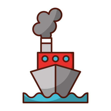 Shadow color ship cartoon vector graphic design