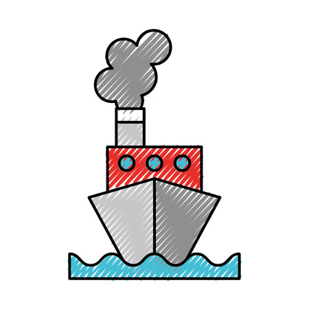 scribble color ship cartoon vector graphic design Illustration