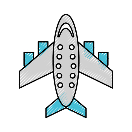 scribble grey airplane cartoon vector graphic design