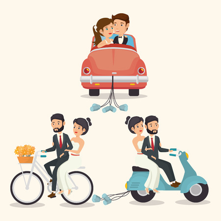 Just married couples in vehicles over beige background. Vector illustration.