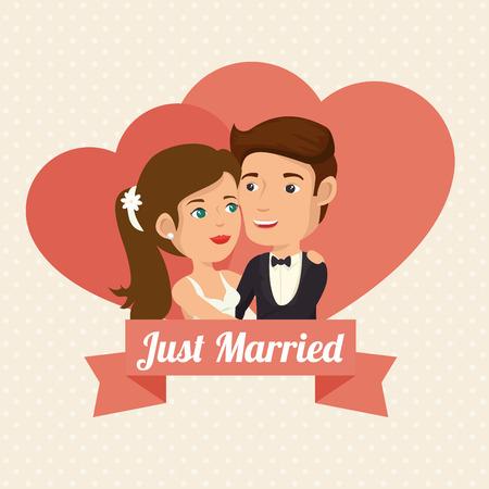 Enkel getrouwd stel met hartjes en lint over beige gestippelde achtergrond. Vector illustratie.