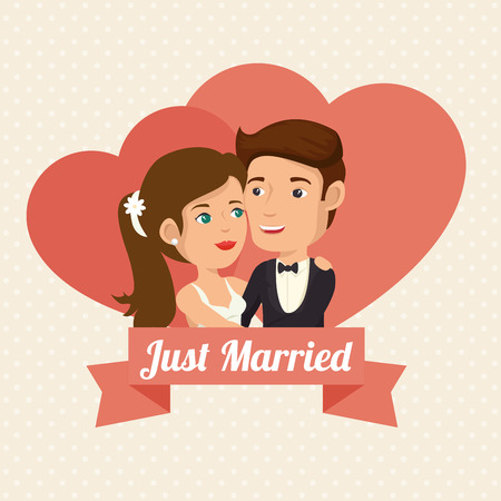 Just married couple with hearts and ribbon over beige dotted background. Vector illustration. Ilustrace