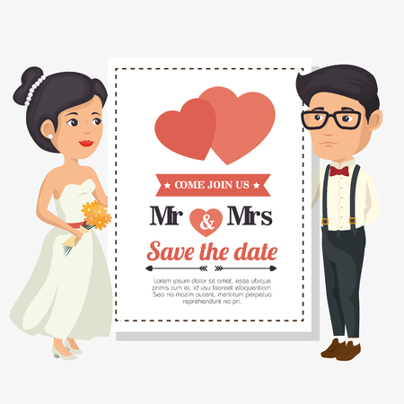 Wedding invitation with bride and groom over white background. Vector illustration.