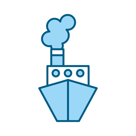 cute blue ship cartoon vector graphic design