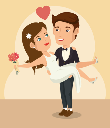 Groom picking bride up with flowers and heart over beige background. Vector illustration.