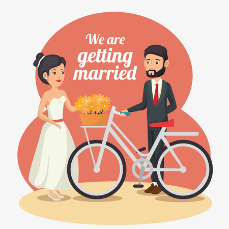 Bride and groom with bike, flowers and we are getting married sign over white background. Vector illustration.