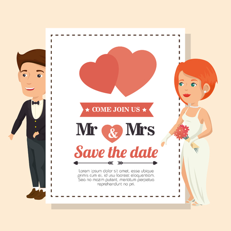 Wedding invitation with bride and groom over peach background. Vector illustration.