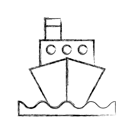 sketch draw ship cartoon vector graphic design