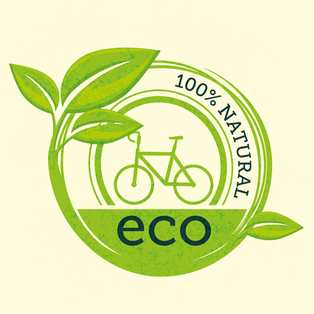 100 percent natural label with leaves and bicycle over beige background. Vector illustration, Иллюстрация