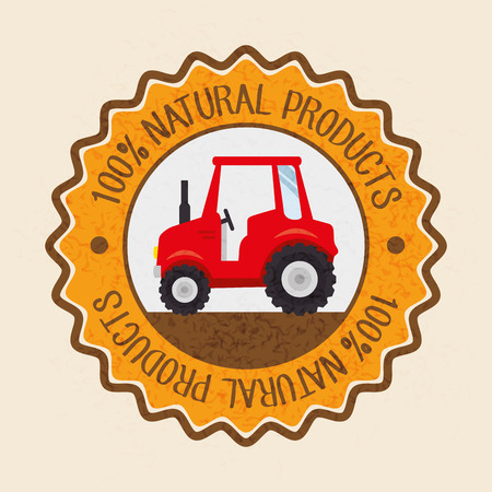 100 percent natural products label with tractor over beige background. Vector illustration.