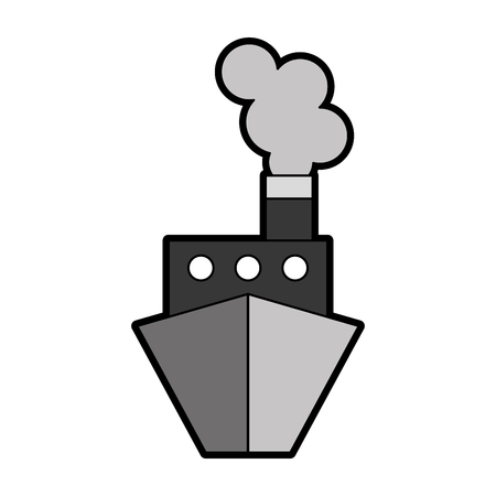 cute grey ship cartoon vector graphic design