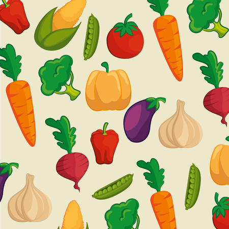Pattern with colorful vegetables over beige background. Vector illustration. Illustration