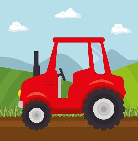 시골 풍경 위에 빨간 트랙터입니다. 벡터 일러스트 레이 션.