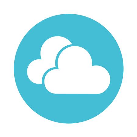cute round icon blue clouds cartoon vector graphic design Illustration