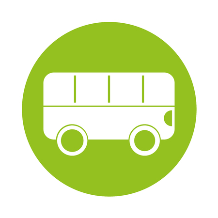 Round icon green bus cartoon vector graphic design