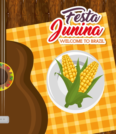 Corn on plate and guitar over wooden table and orange square tablecloth vector illustration Illustration