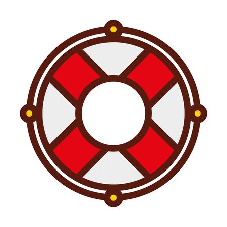 cute red lifebuoy icon cartoon vector graphic design