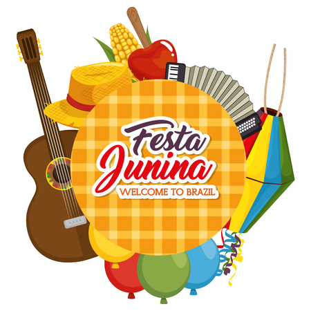 Festa junina welcome to Brazil sign surrounded by related objects vector illustration Illustration