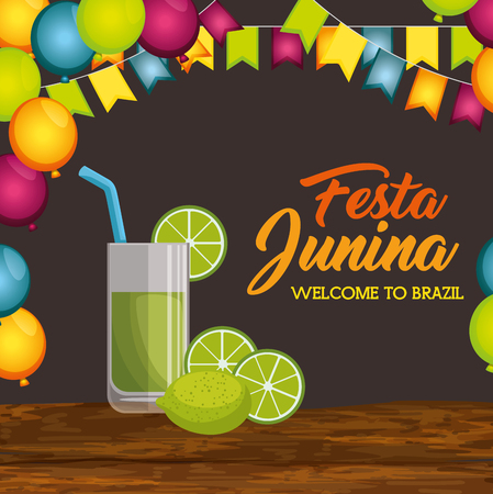 Lime juice glass on wooden table with ballons and banners over brown background vector illustration