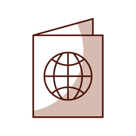 shadow brown passport cartoon vector graphic design Illustration