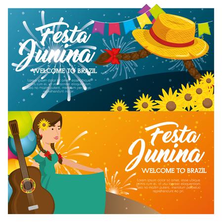 모자 braids 꽃과 기타 벡터 illsutration를 들고하는 여자와 페스티벌 junina infographic 스톡 콘텐츠 - 79413912