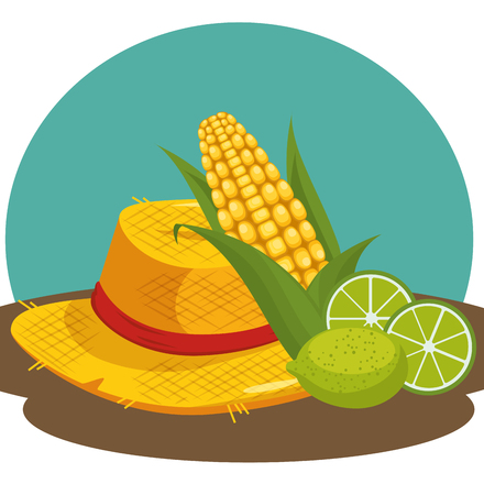 Hat with corn and limes over teal and brown background vector illustration Ilustração